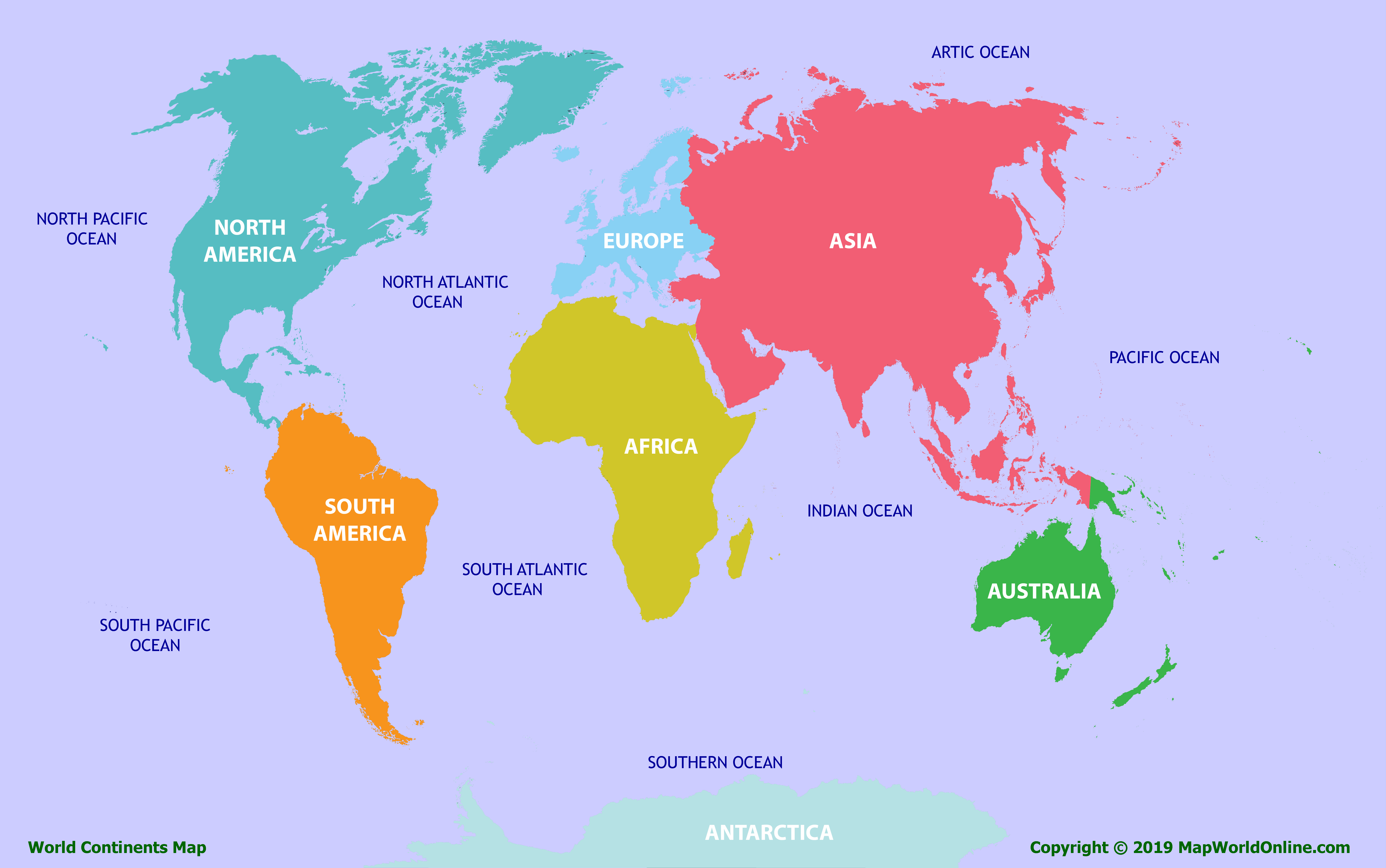 Picture of: World Continents Map Map Of Continents